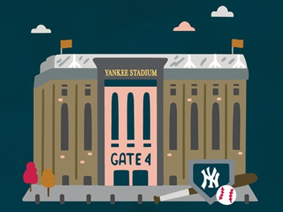 A Year In New York City -  October bat clouds baseball yankee stadium new york city nyc illustration