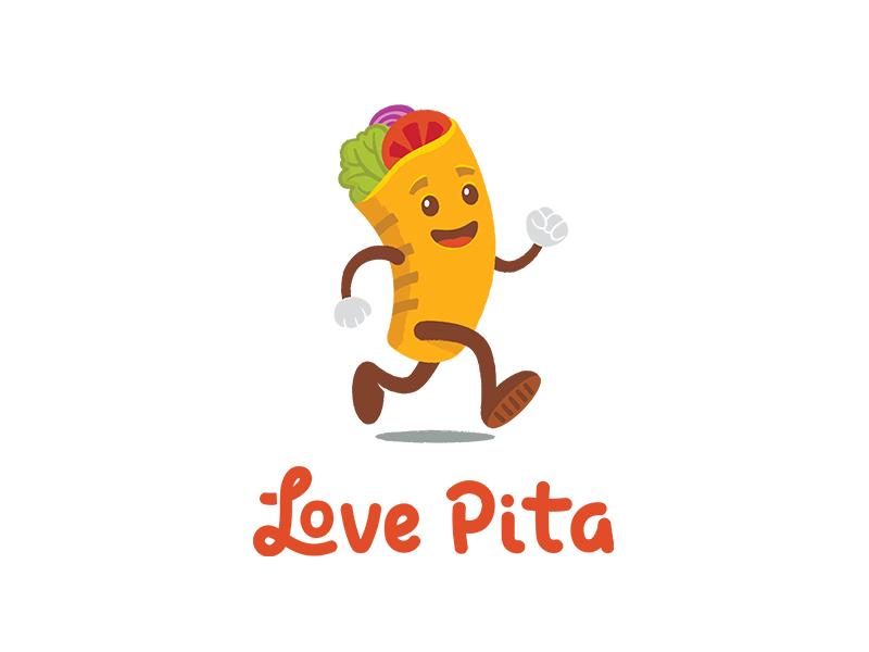 Love Pita joy tasty tomato creerful fun character fast food doner kbab food pita logomachine logo