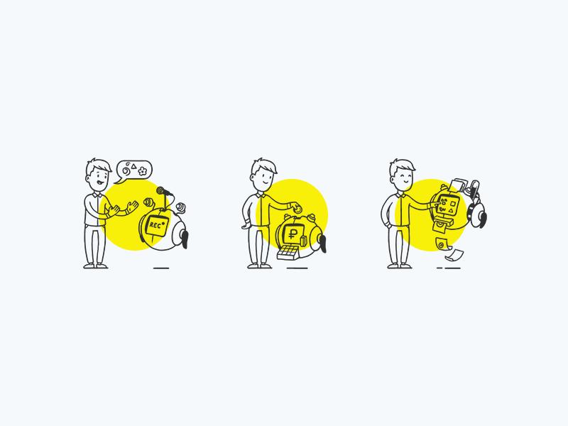 Steps coin character robot illustration icon brand identity branding logomachine logotype logo