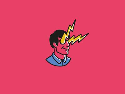 Only victory geek head man guy lightning logo pink comics popart