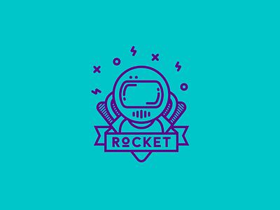 Rocket astronaut blue purple space rocket agency digital identity brandidentity brand logotype logo