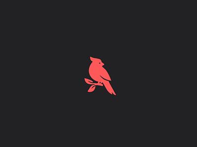 Red cardinal bird logo minimal clean design mark flat icon branding red bird logo