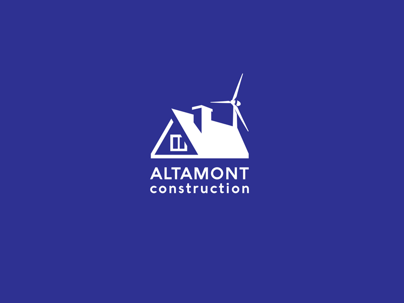 Altamont Construction  blue simple line wind home house identity branding brand logotype logo