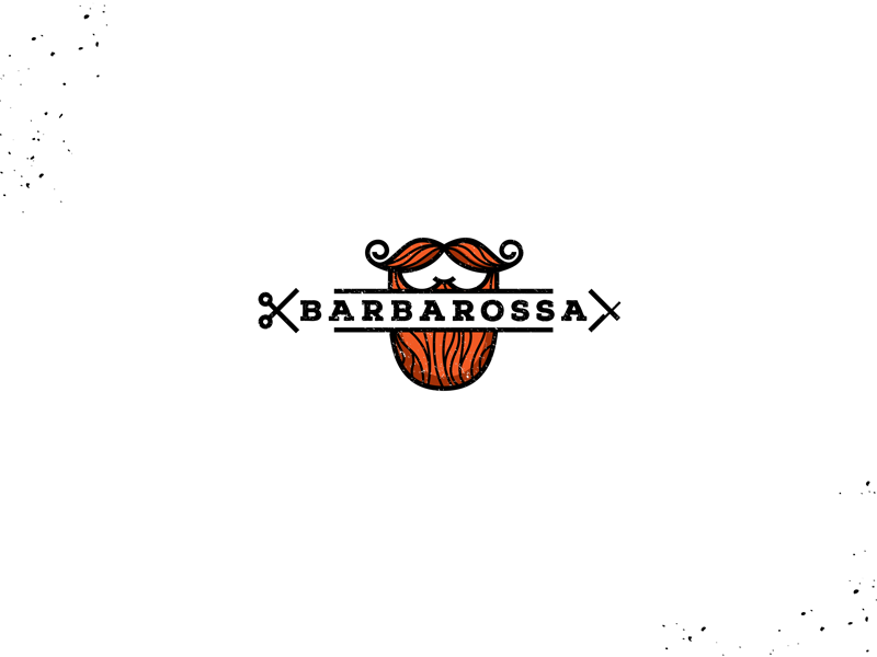 Barbarossa black red hear barbershop beard identity branding brand logotype logo