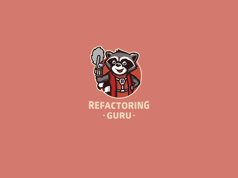 Refactoring Guru orange cute mascot racoon animal programming identity branding brand logotype logo