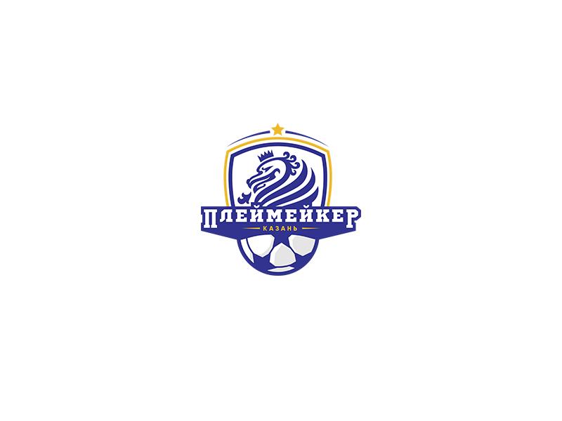 Playmaker logotype logos logo letter identity soccer white blue grey orange font brand