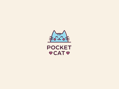 Pocket Cat pink blue mascote pet animal cute cat dress identity logotype logo