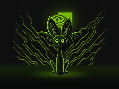 NVIDIA STUDIO Playoff - Unofficial Mascot nvidia studio illustrations technology mythical creature mascot illustrator digital art illustration playoffs nvidia dribbble playoff