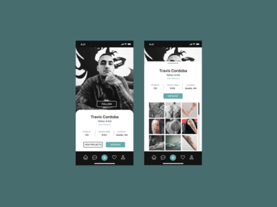 Daily UI 006 - User Profile tattoo app tattoo artist appidea user profile dailyui 006 dailyuichallenge ui dailyui