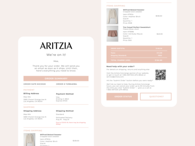 Daily UI 017 - Email Receipt minimal ui daily 100 challenge uidesign email design dailyuichallenge dailyui017 dailyui order confirmation receipt ecommerce aritzia email receipt