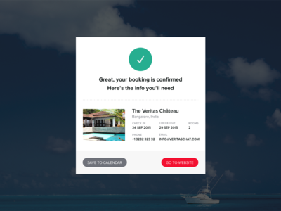 Booking Confirmation Screen