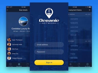 Oceanic Network iOS Mobile App UI Design