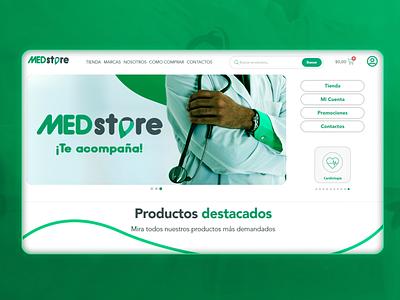 E-Commerce design and development for MedStore medical supplies branding health design web