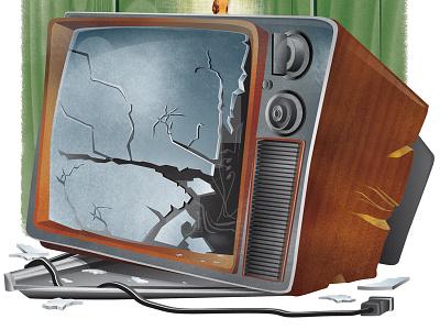 It got broke good..... childrens book illustration color texture antique tv television