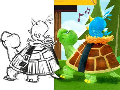 Bird and Turtle illustration childrens book line work texture character development character design bird turtle illustrator