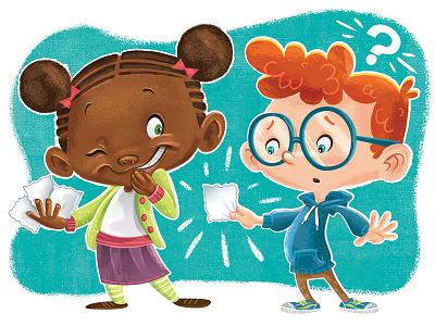 Highlights Magazine Paper Prank Spot Frawley publishing girl boy character design texture kid lit diversity children kids illustration magazine highlights