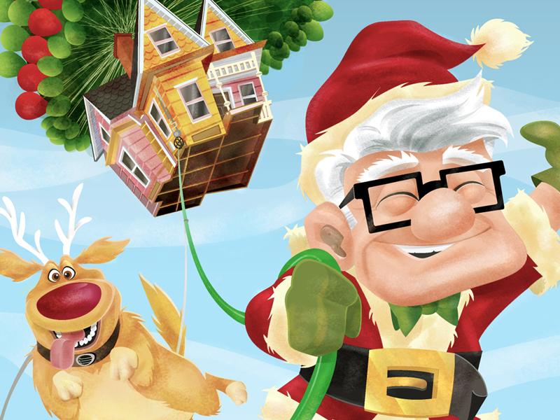 Carl Claus illustration textured vector cartoon greeting card holiday christmas happy holidays pixar up movie carl dug