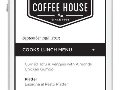 Coffee House ui ux interface campus menu university mobile app branding