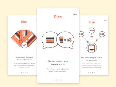 Rise - Onboarding Illustration illustration signup ux ui mobile reward ngo charity onboarding