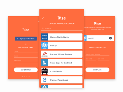 Rise - Sign Up Screens