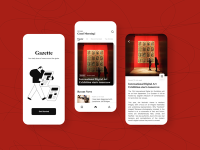 News App Concept bnw monochrome figma article news branding app minimal interaction illustration ui ux design
