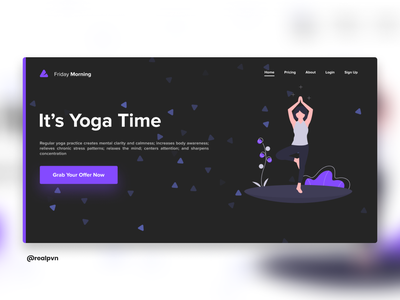 It's Yoga Time - A Dark Theme Design dark dark theme purple yoga design typography web design web ui minimal