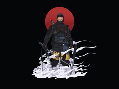 Jin Sakai from Ghost of Tsushima game ghost of tsushima jin sakai black  white illustration logo logodesign adobe illustrator logo design design vector
