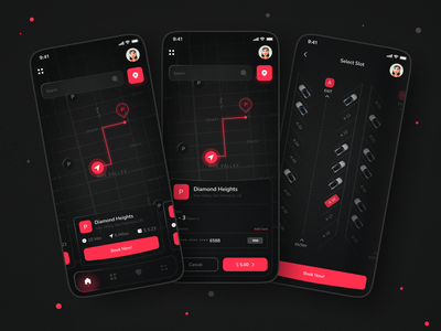 Parking App hellodribbble firstshot debute debute shot parking allotment app ui neon map car dark design ui app design parking app parking app
