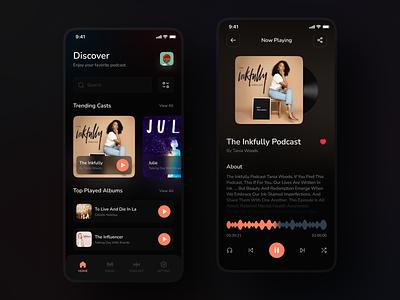 Podcast App dark theme music album musicalbums cast podcast app music app music podcast design dark ui dark app app ui app design ui