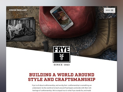 Frye case study grunge color correction photo manipulation landing page phone bag purse boots frye