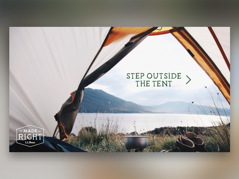L.L.Bean Shoppable Video tent website interactive experience shoppable video shop outside outdoors llbean