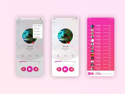 music app music ui red pink mp3