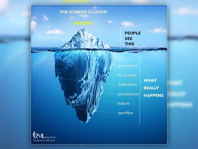 Iceberg illusion sky sea blue design