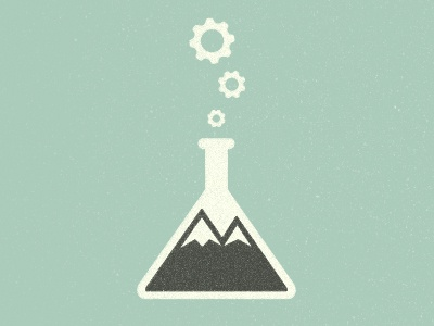 Science + Nature type texture color vintage design logo illustration green mountain science