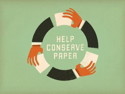 Conserve type texture color vintage design logo illustration green recycle paper