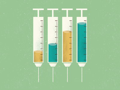 Syringe thing icon paper conceptual texture color logo graph design old chart shot syringe needle stats illustration