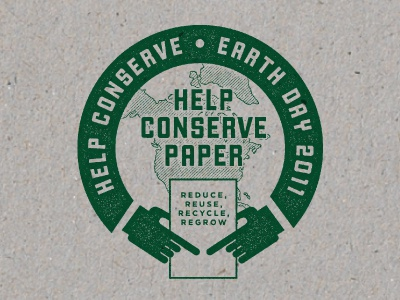 Conserve Paper green paper recycle reuse earth vintage texture union hands tree earth day usa logo