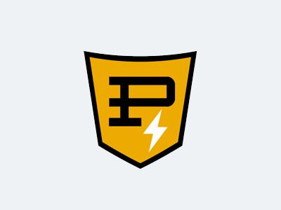 Pancake Scooters logo vintage emblem pancakes gold letter lightning badge