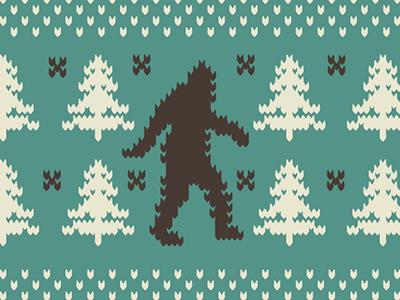 Fair Isle vintage color logo illustration icon retro shape fair isle sasquatch bigfoot holidays