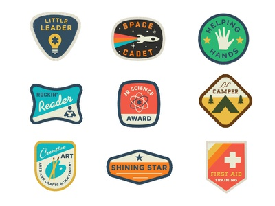Land Of Nod Badges patches badge honor bedding boys vintage color texture logo type rocket kids