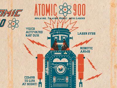 Atomic 2 vintage texture graphic logo illustration letter blue design robot tin tin robot toy packaging laser ray gun