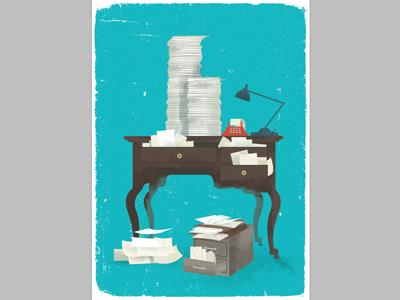 AARP 1 design vintage desk taxes phone lamp texture graphic logo illustration