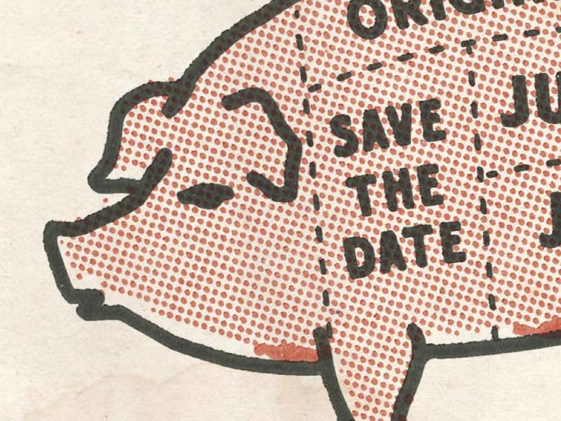 Piggy vintage color texture design logo jean shop pig invite