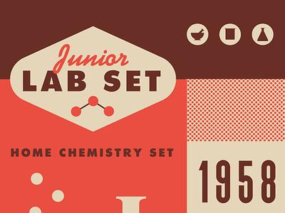 Lab Set vintage color lab texture design logo chemistry icon science 60s
