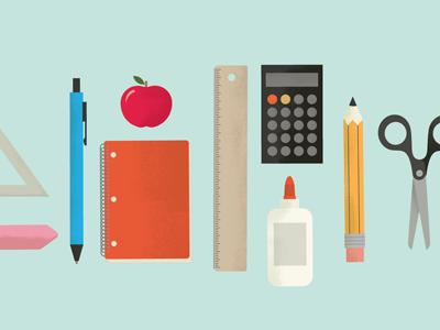 Back To School design vintage supplies school pencil pen learning glue texture graphic logo illustration