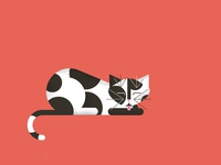Cat modern vintage feline texture cute illustration design cat