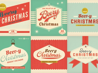 Beery Xmas Options vintage texture graphic logo illustration letter blue beer package beer label label design christmas fun