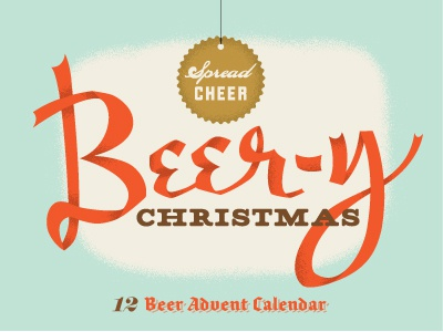 Beery Xmas Final vintage texture graphic logo illustration letter blue beer package beer label label design christmas fun