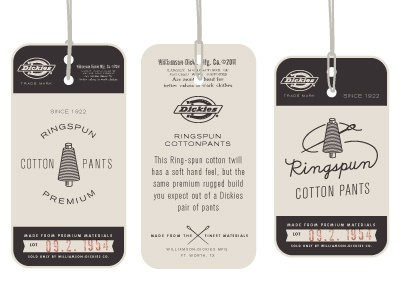 Dickies Ringspun vintage tag apparel dickies denim work wear color logo illustration icon retro design distressed texture swing tag