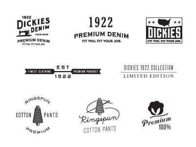 Dickies Marks 2 vintage tag apparel dickies denim work wear color logo illustration icon retro design distressed texture swing tag